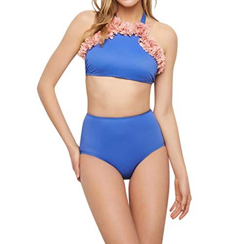 IHEHUA Mädchen Badeanzug Bikini Baby Mother Damen Mädchen Zweiteiliger Bademode Hawaiianische Badebekleidung Einfarbig Sexy Beachwear Swimwear(Blau-Damen,S)
