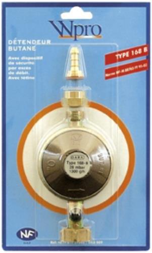 Wpro DBB008 Détendeur avec Obturateur Automatique Intégré pour Gaz Butane avec Tétine Amovible Pression 28Mbar - Type : 717B