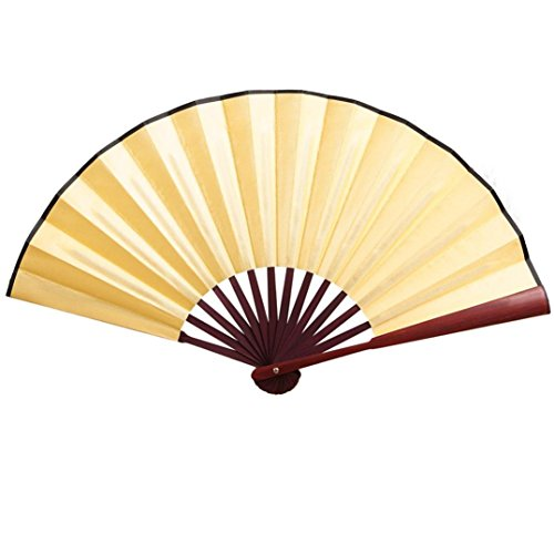 Cinhent Hand Folding Fans for Chinese Floral Lace Silk Wedding Dancing Party (Yellow)