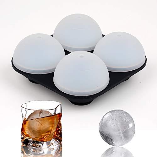 Bandejas de silicona para cubitos de hielo, 4 moldes de bola de hielo con tapa, grandes sin BPA, perfectos para congelador, whisky, cóctel, comida para bebés y vino