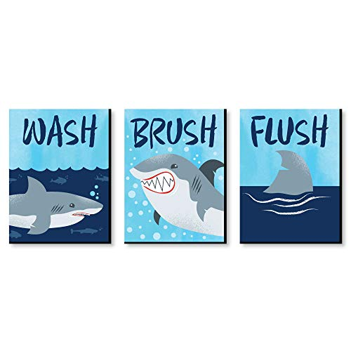 Big Dot of Happiness Shark Zone - Kids Bathroom Rules Wall Art - 7.5 x 10 inches - Set of 3 Signs - Wash, Brush, Flush
