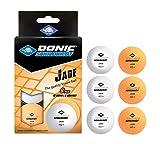 Donic-Schildkröt Unisex– Erwachsene Tischtennisball Jade, Poly 40+ Qualität, 6 STK. im Blister, 3X, 3 x weiß / 3 x orange, Einheitsgröße