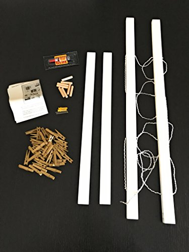 Polaroid 40 Gold Clothespin Clips-White Reimagine Hanging Photo Display- Wood Wall Picture Frame Collage Board for Hanging Prints Holiday Cards Instax Artwork- Display 2 Ways- Adjustable String