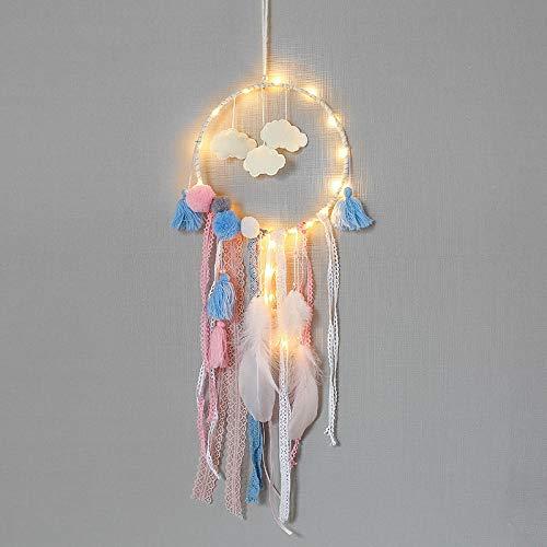 RKGD Nubes Plumas Atrapasueños Cadena de Luces LED Decoración del hogar Lámpara de Noche para niños Regalos de cumpleaños-with_Light