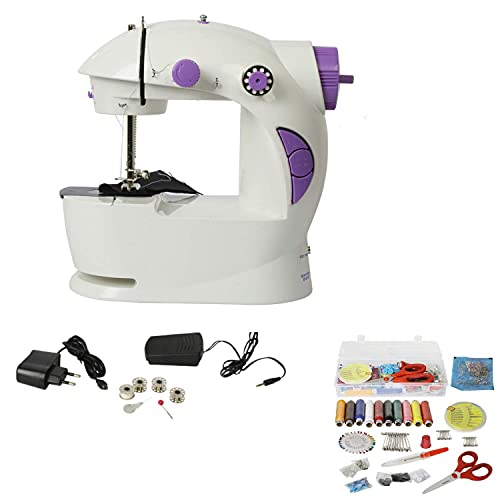 Aatmnidedi Multi Electric Mini 4 in 1 Desktop Functional Household Sewing Machine,Mini Sewing Machine for Home, Home Tailoring {Multicolor}