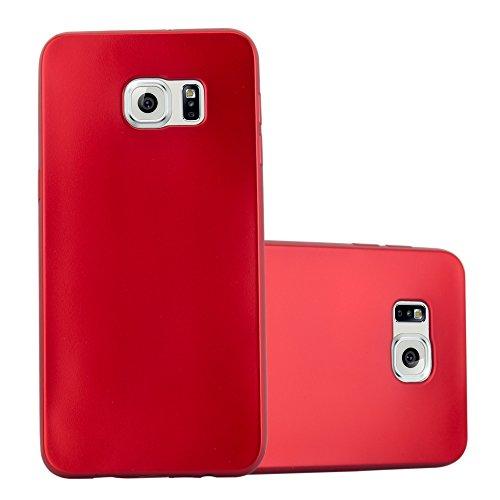 Cadorabo Funda para Samsung Galaxy S6 Edge Plus en Metallic Rojo – Cubierta Proteccíon de Silicona TPU Delgada e Flexible con Antichoque – Gel Case Cover Carcasa Ligera
