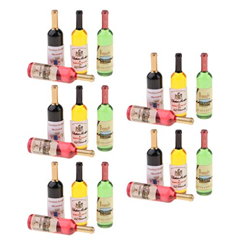 F Fityle 5 Unidades 1/12 Casa de Muñecas Botella de Vino en Miniatura Fiesta Pub Bar Suministros de Decoración de Alimentos