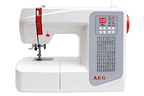 AEG - Máquina de Coser, plástico/Metal, plástico/Metal, weiß/Rot/Grau, 37.5 x 15 x 30.5 cm