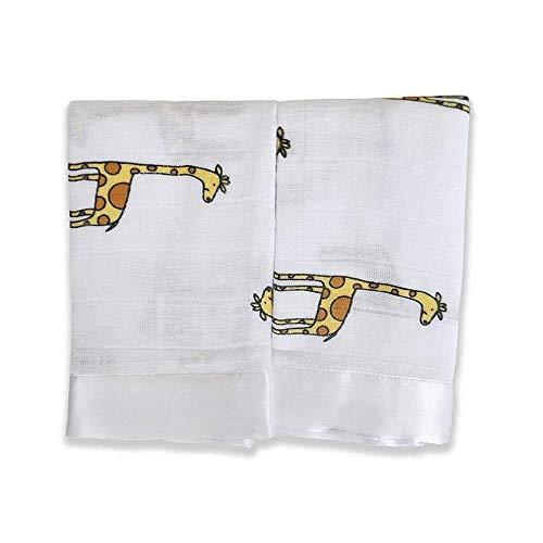 aden + anais - Couverture-Doudou Issie,  en Mousseline 100% Coton avec bordure en Satin, Doudou Bébé Doux & Confortable, Nouveaux-nés, Fille & Garçon, Blanc & Jaune, Lot de 2, 40x40 cm
