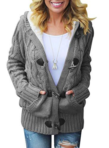 Dokotoo Damen Strickjacke Langarm Pullover Strickmantel Gefüttert Tops Outwear Cardigan Botton Down Strickcardigan Kurz Winterjacke Grau S EU 36 38