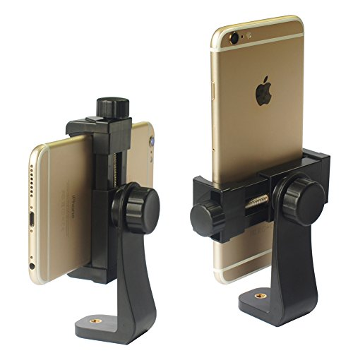 iPhone Tripod Mount Adapter Universal Cell Phone Tripod Mount, Vertical Horizontal Adjustable Clamp 2.3~4.0' Wide