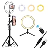10.2' Selfie Ring Light with Tripod Stand & Cell Phone Holder for Live Stream/Makeup, QI-EU Mini Led Camera Ringlight for YouTube Video/Photography Compatible with iPhone Xs Max XR Android
