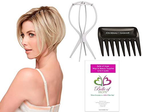 Ignite Lace Front HD Wigby Jon Renau 4PC Bundle with Plastic Wig Stand, Wide Tooth Comb and 19 Belle of Hope Page Q and A Guide (FS17/101S18)