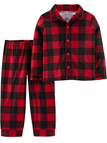 Simple Joys by Carter's Boys' 2-Piece Coat Style Pajama Set, Buffalo Check, 18 Months