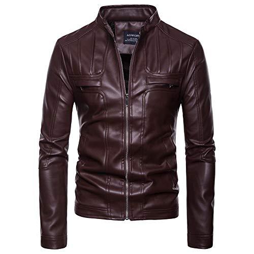 WEDGFG herenjack heren effen motorfiets opstaande kraag leren jas jas oversized jas bruin jack