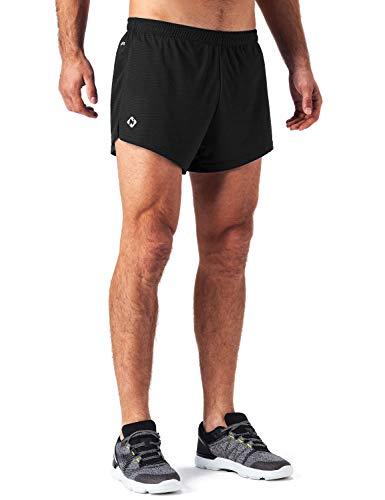 NAVISKIN Pantalones Cortos de Atletismo para Hombre Shorts Deportivos de Correr Fitness Secado Rápido Ligero Súper Transpirables Elásticos Elementos Reflectantes (Negro, M)