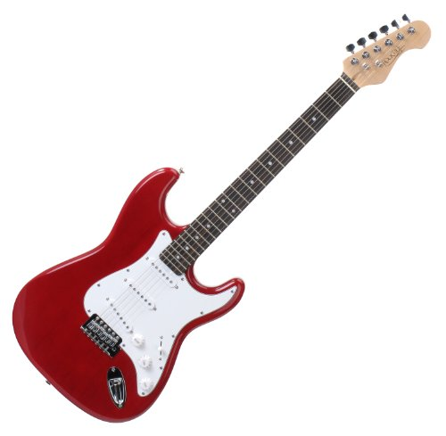 Rocktile Sphere Classic Red E-Gitarre (weißes Schlagbrett, 3x Single Coil Tonabnehmer, 21 Bünde, Palisander Griffbrett, Tremolo-Bridge, inklusive 2,5m Gitarrenkabel, Tremolohebel und Inbusschlüssel)