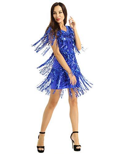 Yeahdor Damen Latein Kleid Salsa Tango Tanz Kleid Fransenkleid Glitzer V-Ausschnitt Tanzkleid Flapper Tanzkostüm für Ballsaal Rumba Cha Cha Blau Large