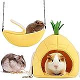 2 paquetes, Hamster Cama, Banana Hamaca, Colgante Litera Cama Casa Animal Pequeño Casa de Juguete Nido de Sueño para Pájaro Mascota