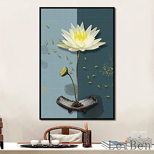Chinesische Art Einfache Lotus Tinte Poster Wandkunst Leinwände für Wohnzimmer Home Einfacher Hintergrund Dekorative Malerei 60x90cm