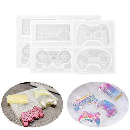Juego de 2 moldes de resina Gamepad molde de silicona espejo superficie juego consola llavero molde, herramientas de bricolaje para hacer pasteles chocolate clave Accesorios