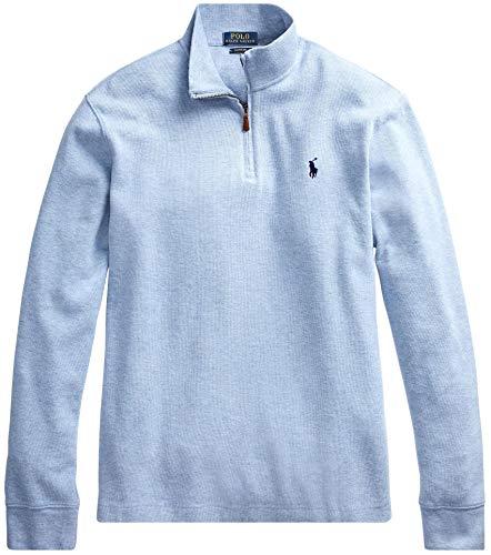 Polo Ralph Lauren Mens Half Zip French Rib Cotton Sweater (M, JamicaBlueHtr)