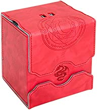 Zoopin Leather Deck Box with Built-in Spinning Life Counter, Red for MTG,Yugioh,Pokeman,TES Legacy,Munchkins CCG Decks and Also Small Tokens or Dice- Hold 100 Sleeved Cards or 150 Naked Cards …