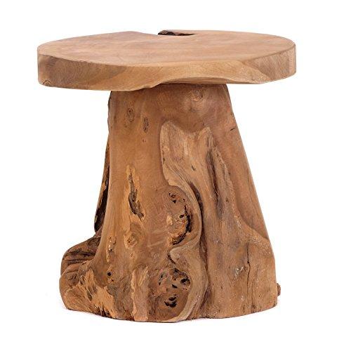 DESIGN DELIGHTS URIGER Natur Holz HOCKER Darwin | Teak Wurzelholz unbehandelt, Ø 40 cm | Beistelltisch