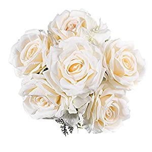 "EZFLOWERY 6 Heads 19"" Artificial Roses Silk Flowers Arrangement Bouquet for Wedding Centerpiece Room Party Home Decoration, Elegant Vintage"