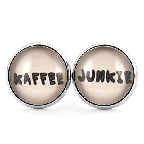 SCHMUCKZUCKER Damen Herren Unisex Ohrstecker mit Spruch Kaffee Junkie Edelstahl Ohrringe Silber Braun 14mm