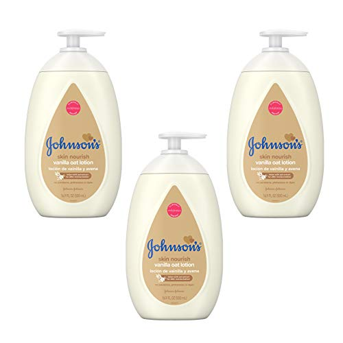Johnson's Moisturizing Baby Body Lotion with Vanilla & Oat Extract for Dry Skin, 16.9 fl. oz, (Pack of 3).