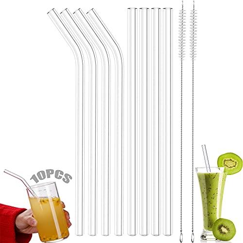 Tubo di vetro 8 pezzi cannucce di vetro Cannucce di vetro corte Cannucce ecosostenibili Bicchiere con cannucce Set di cannucce di vetro Per il tè frullato da cocktail Con 2 spazzole per la pulizia