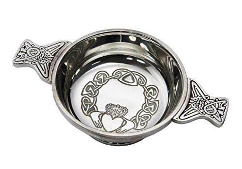 Wentworth en étain – Large Claddagh en étain Quaich Bol de dégustation de whisky Loving Cup Burns Nuit