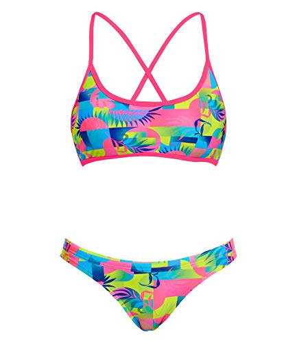Funkita Damen Bikini Set Sportbikini Cross Back Tie Top Two Piece Sunkissed, Größe:38