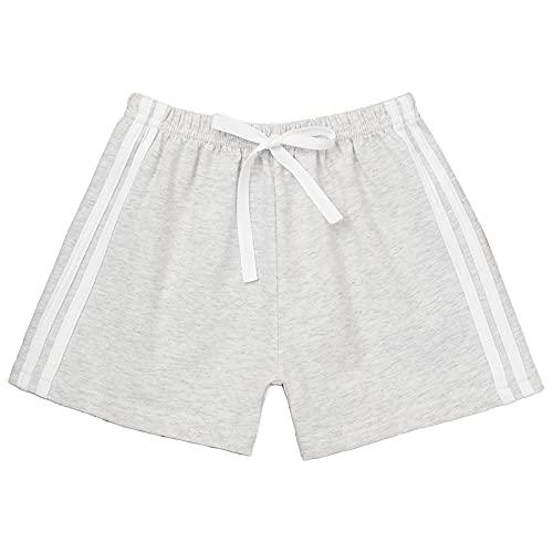 inhzoy Kinder Jungen Mädchen Sommer Shorts Kurze Hosen Elastische Taille Sport Strand Shorts Freizeithose mit Tunnelzug Baumwolle Grau 98-104