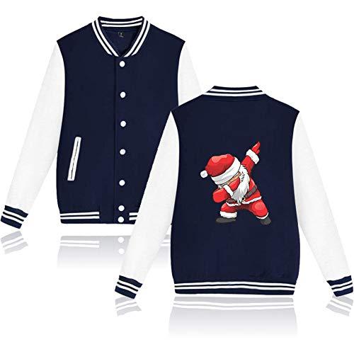 LJni Santa Christmas Jackets Baseball Uniform Coat Männliche 3D Bomberjacken Herren Weihnachtskleidung,Blau,M