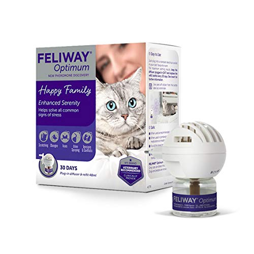 FELIWAY Optimum – Antiestrés de nueva generación para gatos – Difusor + recarga de 48 ml