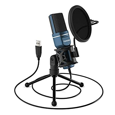 TONOR PC Microphone USB Computer Condenser Gaming Mic Plug & Play with Tripod Stand & Pop Filter for Vocal Recording, Podcasting, Streaming for iMac PC Laptop Desktop Windows Computer