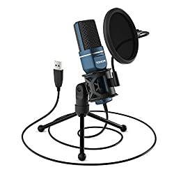 USB Gaming Microphone, TONOR Computer Condenser PC Mic with Tripod Stand & Pop Filter for Streaming, Podcasting, Vocal Recording, Compatible with iMac PC Laptop Desktop Windows Computer, TC-777,TONOR,TC-777