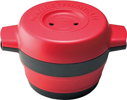 メトレフランセMaitreFrancais電子レンジ調理器一台三役炊く蒸す煮る簡易レシピ付きレッドデリキャセ857-RD