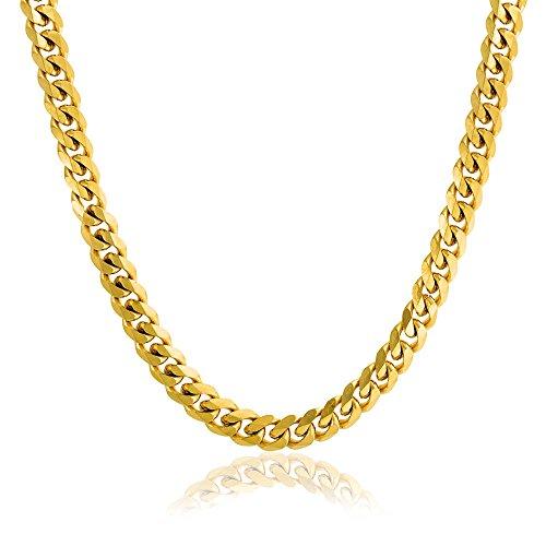 Bling Jewelry Fuerte Tono Oro 8Mm Acero Miami Cubano Bordillo Collar De Cadena para Los Hombres De 20 A 24 Adolescentes De 30 Pulg.