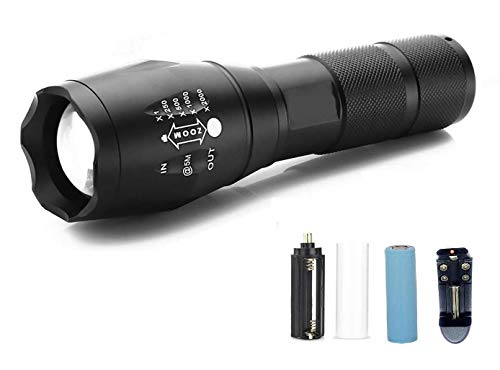 Earth Torch Lights,Flashlight 5 Modes Rechargeable Ultra Bright Cree Led Torch Light Water Resistant High Power with Adjustable Focus & Recharging Kit for Outdoor, Trekking,Camping (Black)