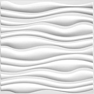 Easy Peel & Stick, Durable Plastic Textured Decorative 3D Wall Panel - GAPLESS Serene Design. 12 Panels. 32 SF