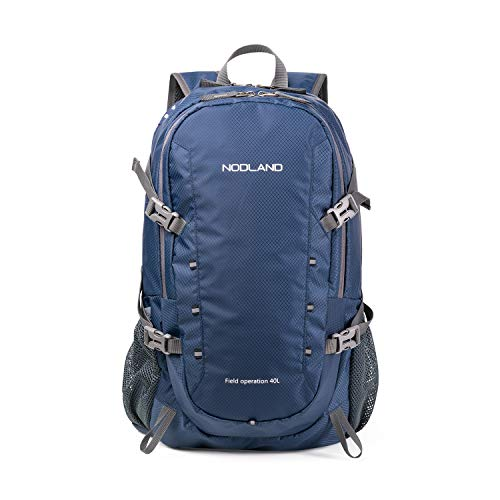 NODLAND Light Weight Backpack, 40L Foldable Water-Resistant Daypack, Hiking Outdoor Camping Rucksack for Men and Women, Large Capacity Blue