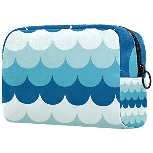 ATOMO Bolsa de maquillaje, bolsa de viaje de moda, neceser grande, organizador de maquillaje para mujeres, azul conjunto de curvas