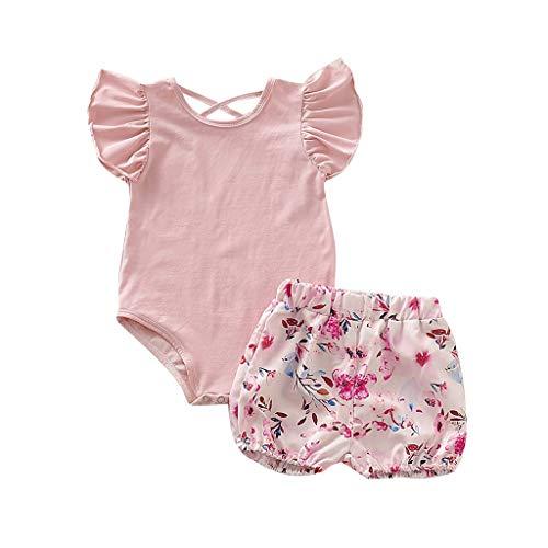 Kleinkind Baby Mädchen Outfits Set Kurzarm Brief Strampler Floral Shorts 2 Stück Baumwolle Kleidung Set für 0-24 Monate (6-12 M, Pink 1)