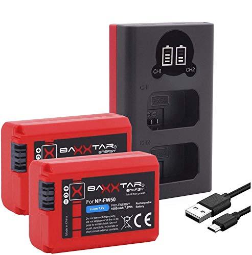 Baxxtar Pro (2X) Compatible avec la Batterie Sony NP-FW50 - Mini 1851 LCD Dual Chargeur - (entrée USB-C et MicroUSB)