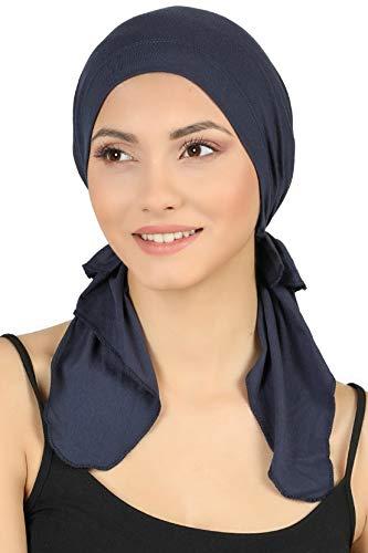 Deresina Vorgebunden Tücher der Baumwolle für Haarausfall, Krebs (Denim)