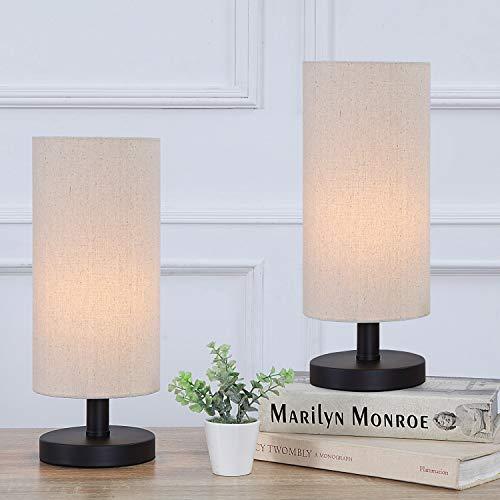 SHACOS 2er Set LED Nachttischlampe Metall Tischlampe Vintage Nachtlicht Stoff Schreibtischlampe für Schlafzimmer, Wohnzimmer, Moderne Nachttisch-Leuchte E27 Fassung
