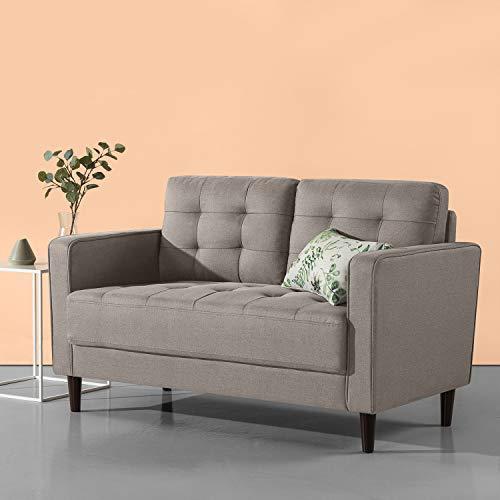 Zinus Sofa / Kleine gewebte Polstercouch / 135x86x78 / steingrau